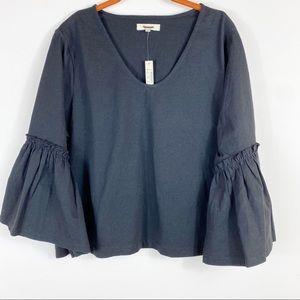 NEW Madewell Ruffle-Sleeve Top Black Sz XL